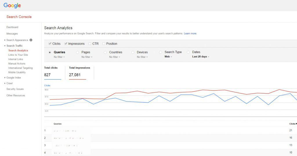 search console overview